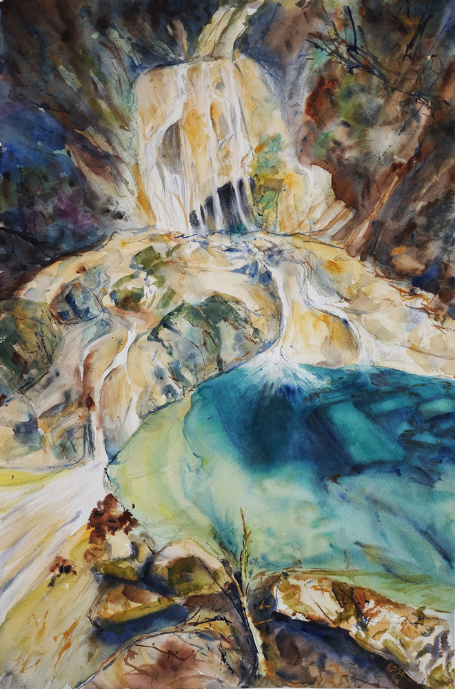 watercolor waterfall handdrawn picture